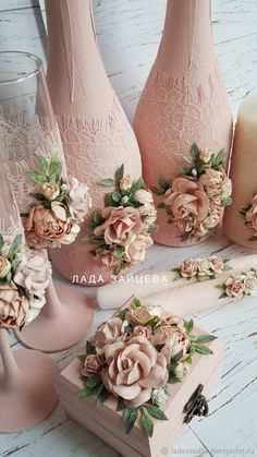 me ~ Handmade wedding accessories. Wine Bottle Art, Diy Bottle, Wine Bottle Crafts, Mason Jar Crafts, Clay Flowers, Paper Flowers, Diy And Crafts, Arts And Crafts, Wedding Glasses