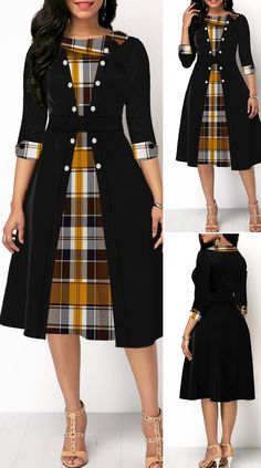 Button Detail Plaid Print Three Quarter Sleeve Dress HOT SALES beautiful dresses, pretty dresses, holiday fashion, dresses out… in 2020 Women's Dresses, Stylish Dresses, Elegant Dresses, Pretty Dresses, Beautiful Dresses, Dresses With Sleeves, Outfits Dress, Sleeveless Dresses, Mermaid Dresses