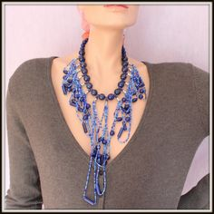 Beautiful Lapis Lazuli and Japanese Seed Beads Necklace by Fagiano, $115.00