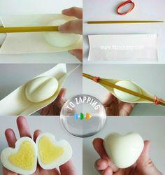 Huevos con forma de corazón.El alimento que nos aporta grannutricióny que también nos da muchas posibilidades de cocinar de diferente modo es elhuevo