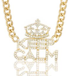 Goldtone Iced Out Keep Calm Pendant with an 18 Inch Adjustable Cuban Link Necklace