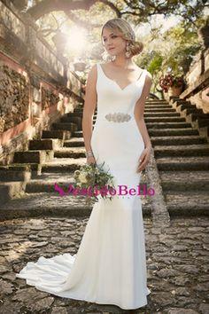 2016 vestidos de boda de la sirena cuello en V y espalda abierta Spandex con el marco US$ 169.99 VTOPR46EBJ9 - vestidobello.com