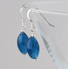 blown glass and silver earrings - dark blue £10.00