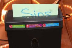Have a shredder at your prayer station. They write their sins to confess on paper. People can literally shred their sins.