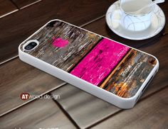 pink wood texture iphone case iphone 4s case iphone 4 cover white iphone case colorized Iphone Logo design printing. $13.99, via Etsy.