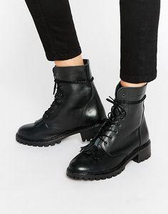 Pieces Diza Kiltie Leather Lace Up Boots