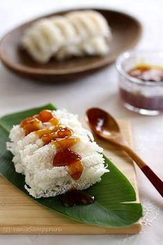 Indonesian food - Kue Rangi (Coconut Cake with Brown Sugar Sauce)