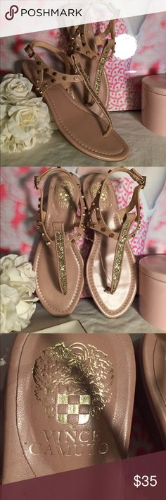 ⭐️NWT⭐️ Vince Camino Jemile sand sandals New with tags. Didn't wear because I need a half size bigger. Out of stock online. Beautiful shoes with gold studs and a small heel. Perfect for summer! Vince Camuto Shoes Sandals