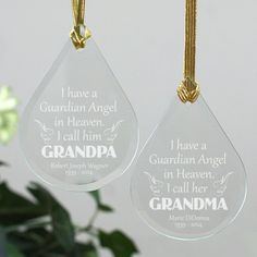 This beautiful tear drop ornament measures 3 34 x 2 58 x 18 and includes a golden ribbon loop and gift pouch. This glass piece is laser etched with the words: I have a Guardian Angel in Heaven. I call himher.  We will engrave any title such as, Grandpa, Grandma, Dad, Bob or any title you choose, any name and memorial years onto this ornament.
