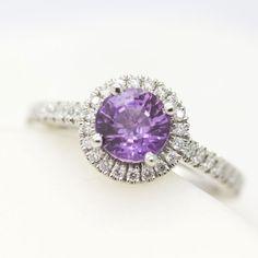 Round #purple #sapphire diamond #halo engagement ring #ultraviolet