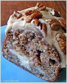 The Flavors of Fall for Brunch or Dessert.  Apple and Cream Cheese Bundt Cake with Caramel Pecan Frosting.