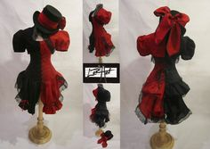 Harley Quinn Style Steampunk - Top, Bolero, Corset, Bloomers, Add-a-Bustle and Bow Tie Sash Costume  - by LoriAnn