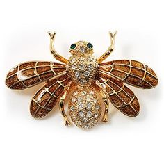 Whimsical sparkle is all the buzz with this Flying Bee Gold Crystal Brooch. Boasting a flying bee design, made of gold tone, covered with yellow and honey coloured enamel detailing on the wings and accented with clear crystal rhinestones on the . Bee Brooch, Brooch Pin, Crystal Brooch, Crystal Rhinestone, Bumble Bee Jewelry, Women's Brooches, Insect Jewelry, Jewelry Stores, Antique Silver