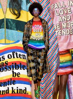 Political slogans have become the fallback for brands to address societal issues on the runway — but Ashish proved that these can actually be powerful (and not gimmicky) statements at its London Fashion Week show. Runway Fashion, Fashion Show, Fashion Trends, Fashion 2017, London Fashion, Fall Fashion, Fashion Ideas, Political Slogans, Rainbow Fashion