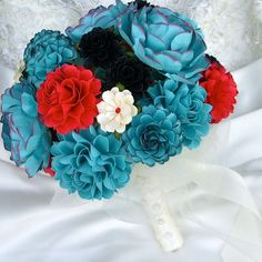Teal,  Red and Black Rock and Roll Inspired handmade paper flower bridal bouquet -by DragonflyExpression