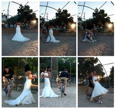 Biking over the dress! Bridals | Trash the Dress | Alki Beach Seattle, WA | (c) Capital City Photography