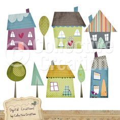 Little Houses Digital Clipart Set - Perfect for Scrapbooking, Card Making and…