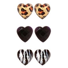 Black Zebra Leopard Heart Stud Earring Trio | Earrings ($13) ❤ liked on Polyvore