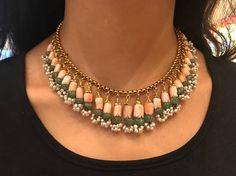 Vintage koraal Emerald Necklace Set 22k goud en enkele cut