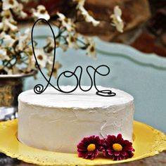 UNIQUE WEDDING CAKE TOPPERS  Handcrafted rustic black wire love wedding cake topper $24.95, Funky Shack Art Studio
