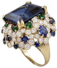 Van Cleef & Arpels Sapphire Diamond Emerald Ring, ca. 1965