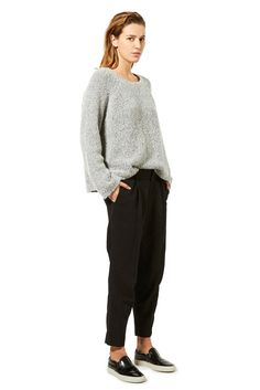Nili Lotan | Pre-Fall 2015 | 08 Grey long sleeve sweater and black cropped trousers