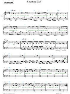 Free Counting Stars-OneRepublic Sheet Music Preview 1