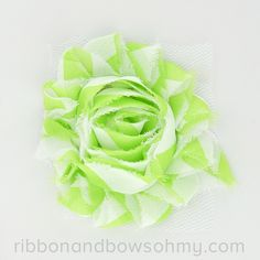 Ribbon And Bows Oh My! Lime <3 17 colors of #chevron Shabby Chiffon Flowers! #chiffonflower #shabbychic #lime