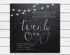 Birthday invitation 21st birthday invite black and by RMcreative