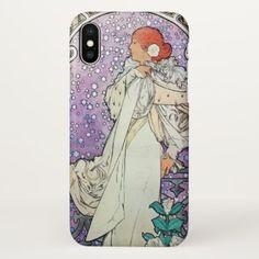 Alphonse Mucha La Dame Aux Camelias Art Nouveau iPhone X Case - artists unique special customize presents