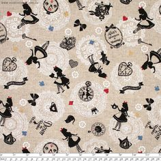 """Girls'+Story+Alice+in+Wonderland+Character+Scatter+Linen+Natural+by+Lecien+-+Pricing+is+per+meter  Black+silhouetted+characters+from+Alice+in+Wonderland+scattered+over+a+natural+linen+coloured+background+with+white+doilies.  Main+Colour/s:Linen  Basecloth:80%+Cotton+/+20%+Linen  Bolt+Width:110cm+(43"""")  Weight:Medium+Weight  Vertical+Repeat:30cm+(11-3/4"""")  Repeat+Type:Basic  While+we+make+every+effort+to+represent+colour+accurately,+every+monitor+is+differen..."""