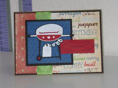 BBQ Birthday card. I love the grill on the block party cricut cartridge! And the spice paper I found at Joann's!