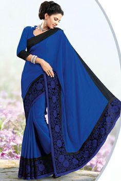 Dark Blue Chiffon Embroidered Party and Festival Saree #sari #saree