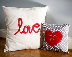 Love Valentine's Day Pillow Set Applique by farmhousestitching