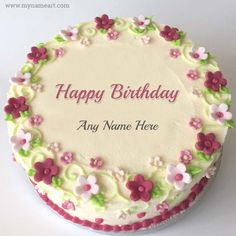 Advance Happy Birthday Wishes Cake With Name Happy Birthday Flower Cake, Heart Shaped Birthday Cake, Birthday Cake Write Name, Birthday Cake Greetings, Image Birthday Cake, Birthday Cake Writing, Blue Birthday Cakes, Happy Birthday Wishes Cake, Happy Birthday Cake Images