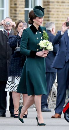 Kate Middleton wears Catherine Walker & Co. coat with Gianvito Rossi heels.