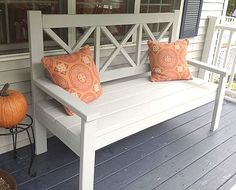 Ana White Large Porch Bench - I Am a Homemaker(Diy Furniture Plans) Diy Furniture Plans, Furniture Projects, Garden Furniture, Ana White Furniture, Furniture Storage, Building Furniture, Outdoor Furniture, Furniture Online, Cheap Furniture
