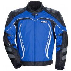 Cortech Mens GX Sport 3.0 Blue Black Waterproof Amored Motorcycle Jacket