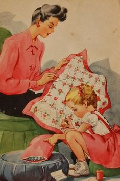Illustration by Florence Sarah Winship from the book 'Miss Sniff', 1945 - mother making a quilt Vintage Children's Books, Vintage Cards, Vintage Postcards, Vintage Library, Antique Books, Retro Kids, Images Vintage, Vintage Pictures, Sewing Art