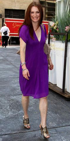 Look of the Day › July 11, 2010 WHAT SHE WORE Moore took an N.Y.C. stroll in a bright purple Brian Reyes kimono dress accessorized with silver sandals and a beige tote.