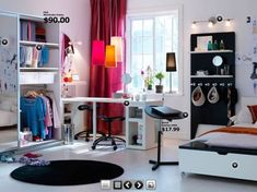 Cool girl's room, but has a lot of ideas for guys' rooms, too. #teen #kids #bedrooms #dorms