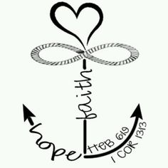 Faith hope love infinity anchor I wanna make this into a design for a tattoo! -Christine