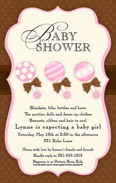 Baby Girl Rattles Baby Shower Invitation