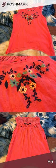 Pink blouse Pink blouse with flower design. Loose fitting. Tops Blouses