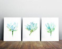 Lotus Malerei-Set aus 3 Drucke-lila mit lila Blumen von Zendrawing