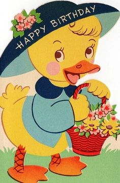 vintage birthday card ~ duck