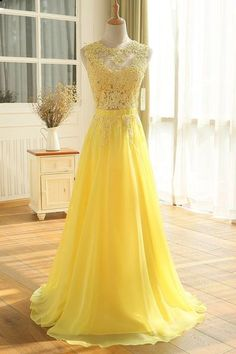 2e3cad8b8f Yellow lace see through long prom dresses