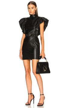 Bold Shoulder Belted Leather Dress