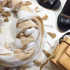 Lightweight Camel and White Striped Tassel Scarf Details: • Camel and white stripes • Tassel detail at edge • NWT  02281601 Ann Taylor Accessories Scarves & Wraps