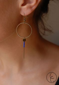 Boucles d'oreilles anneaux laiton et perles Miyuki